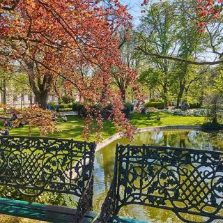 Décor pour votre tournage : bancs publics du jardin Royal à Toulouse
